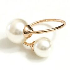 Large White Freshwater Pearl Ring 14K Rose Gold Wedding Jewelry Size 5 Sizable