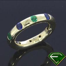Runde Echte Edelstein-Ringe aus Gelbgold mit Smaragd
