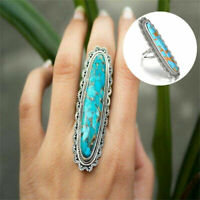 Women GIRL Fashion Big Blue Copper Turquoise Gemstone Oval Jewelry Ring Gifts