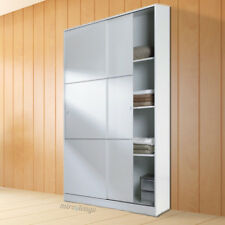 Armario de puertas correderas  de 120x200, con estante superior. Blanco.