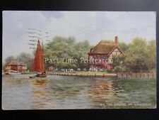 Norfolk Broads ON THE BROADS AT WROXHAM c1942 Artist B. Gerald by Valentine A199