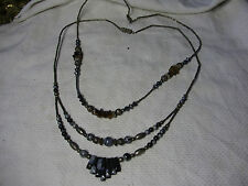 2 x Stunning AGATE & Silver Tone Tubes NECKLACES - Excellent Design