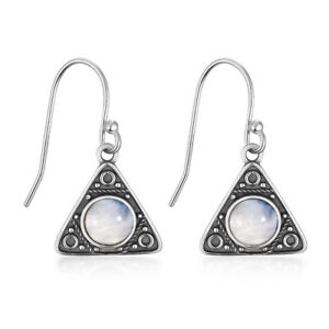 S925 Silver Drop Earrings 6MM Round Moonstone Ear Vintage Jewelry Triangle Gifts