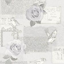 Nuevo Arthouse Bella Plata Lujo script pájaro flor rosa Wallpaper - 630403