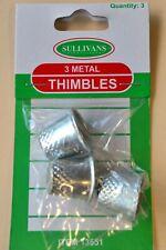 3 Metal Thimbles - 16mm/17mm/18mm diameter - Sullivans