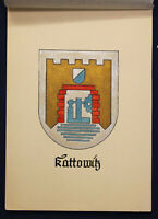 """kolor. Tuschezeichnung """"Wappen der Stadt Kattowitz/ Schlesien"""" um 1930 Kunst sf"""