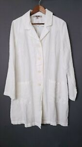 Flax Designs Women's Long Sleeve Linen White Trench Jacket Coat Size Small