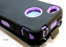 iPHONE 4 4G 4S - PURPLE BLACK HARD&SOFT HEAVY DUTY CASE COVER BELT CLIP HOLSTER