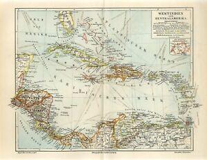 1895 WEST INDIES CUBA JAMAICA PUERTO RICO BAHAMAS HAITI PANAMA CANAL Antique Map