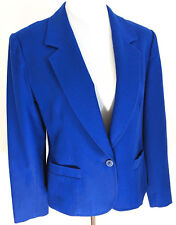 Vintage Pendleton Blazer Jacket 100% Virgin Wool Royal Blue Size 14