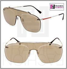 763a9b69da9 PRADA SPS 51t 1bc-128 Silver Frame Brown Gold Mirrored Lenses Sunglasses  37mm