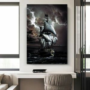 Pirate Ship At Sea Canvas Painting Black Sailboat Vintage Posters Prints Vessel