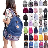 Womens Girls Canvas School Backpack Shoulder Bag Travel Rucksack Satchel Bookbag