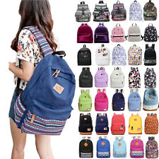 Womens Lady Canvas School Backpack Shoulder Bags Travel Large Rucksack Satchel