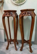 Pair of Carved wood Chinese Stand with Marble Insets burnt mustard wood ornate