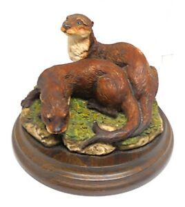 MOUNTED VINTAGE OTTERS FIGURE EARLY COUNTRY ARTISTS PIECE SIGNED SHERWIN c1984 !