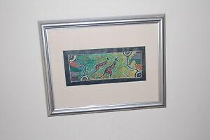 "Original framed ""Alice Springs"" Australian Aboriginal Dot Painting on Canvas."