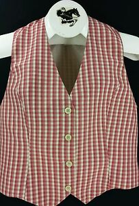 Reed Hill Ladies Saddleseat Vest VENITIAN RED / ROSE AND WHITE PLAID Poly Blend
