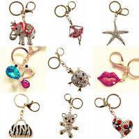 Diamante 3D Crystal Sparkle Keyring Handbag Charm Jewellery Key Chain Gift
