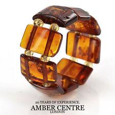 GERMAN BALTIC Orange Cognac AMBER Handmade Elastic Ring RB034 RRP£35!!!