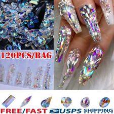 120Pcs Nail Art Diamond Gems Rhinestones Crystals Stones Shiny Nails Decors US