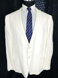 Ralph Lauren Mens Linen Two Button Blazer Sport Coat Jacket Ivory White 50R