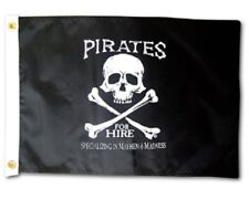 """Pirates For Hire Boat Flag 12X18"""" New Pirate Jolly Roger"""