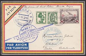Belgium 1937 Used stamps on Airmail cover to Czechoslovakia First Flight...A6858
