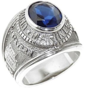 Mens 316 Stainless Steel Blue Sapphire CZ Marine / Military Wide Band Ring