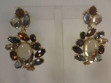 Banana Republic Large Crystal Bronze  Cocktail Ring Sz 6 NWOT $49 Earrings Set 2