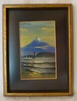 Framed Miniature Landscape Oil Painting of Mt Fuji Japan POSTCARD 1920's xx