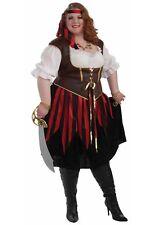 Pirate Lady Costume 3 Pc Blk/Rd/Wht Peasant Style Dress Br Vest Headsash Plus