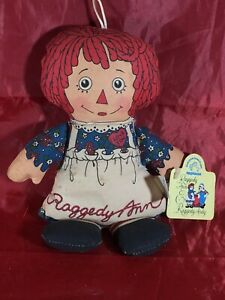"Applause Raggedy Ann Plush Bean Bag Doll Classic 7"" Tall Red Hair Blue Dress"
