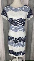 Roman White Striped Lace Occasion Shift Dress Size UK 18