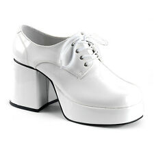 White Platform 70s Disco Pimp Pee Wee Herman Costume Shoes Mens size 9 10 11 12