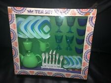 New ListingVtg Worcester Toy Play Tea Set Mod Blue Green Dish Cups Glass Plate Sealed Mib