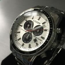Mens Citizen Chronograph Watch Eco Drive E820 Silver Steel Genuine