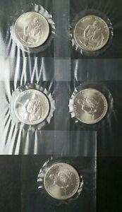 Lot of Five 1982 D 50c Washington Commemorative Silver Half Dollars