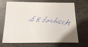 Ernie Toshack Rare Signed White Index Card Hand Signed With COA