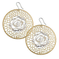 Gold plated large cutout disc with silver high lighted rose drop