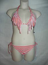 Guess Bikini 2pc Swimsuit Medium Red White Fringe Top Side Tie Bottom NWT