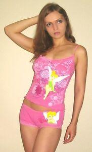 NWT Disney Tinker Bell Top and Shorts Set<S,M,L<4 colors/4 prints