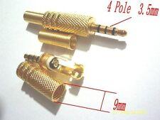 50pcs Gold plate 4 PIN WAY POLE 3.5mm  Jack Plug Audio connector headphone