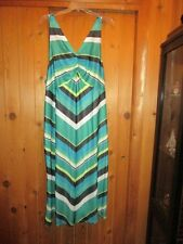 WOMEN'S  PLUS SIZE AQUA BLACK WHITE STRIPE NIGHTGOWN   SIZE 4X