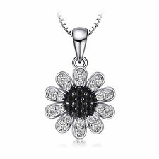 Delicate Black Spinel Flower Pendant Necklace Sterling Silver Special Occassion
