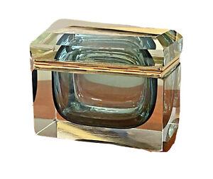 Mandruzzato Vtg Mid Century Modern Sommerso Glass Casket Vase Box Murano Italy