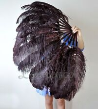 "LARGE OSTRICH FAN - BLACK Feathers 50"" x 30"" Sally Rand/Burlesque/Costume/Show"