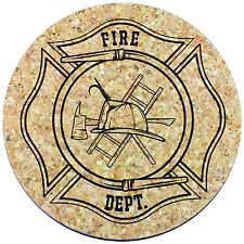 """XL Coasters Fireman Badge design (6"""", set of 2) Absorbent for sweaty glasses"""