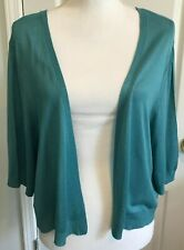 TALBOTS Womens Open Cardigan Cropped SWEATER Short Sleeve GREEN Size XL  NWT