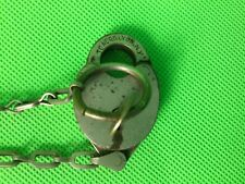 Vintage Toner & Lyon NY heart shaped padlock and key with chain very rare
